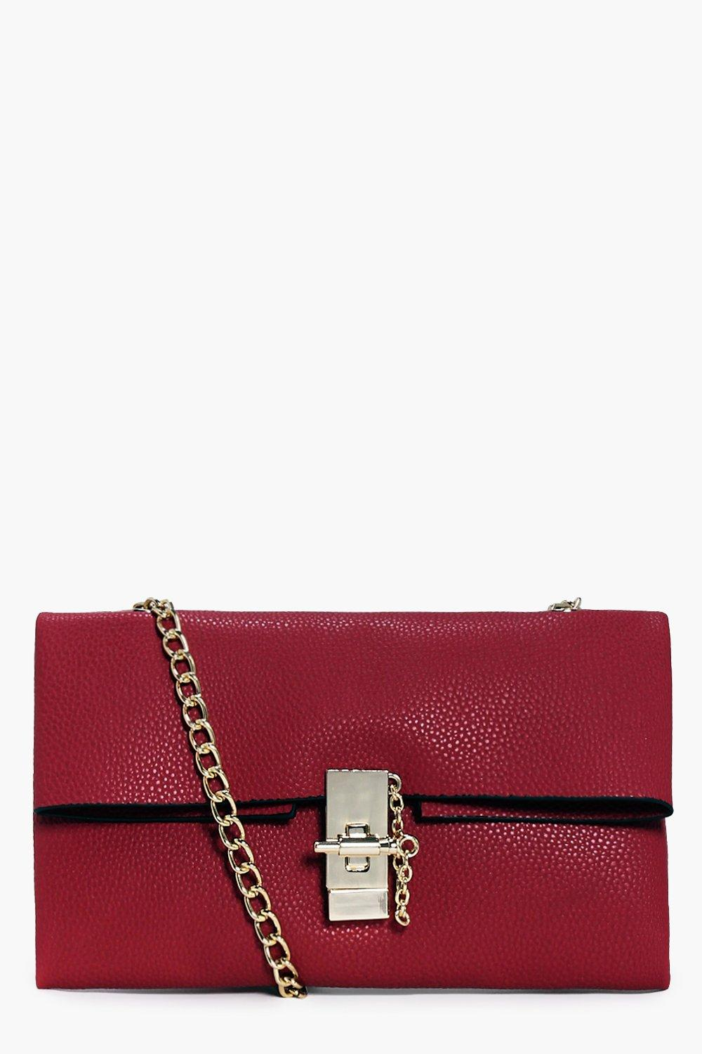 Eva Turn Lock Chain Strap Clutch Bag