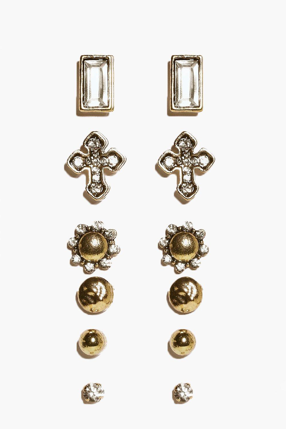 Ellie Ornate Cross Multipack Earrings