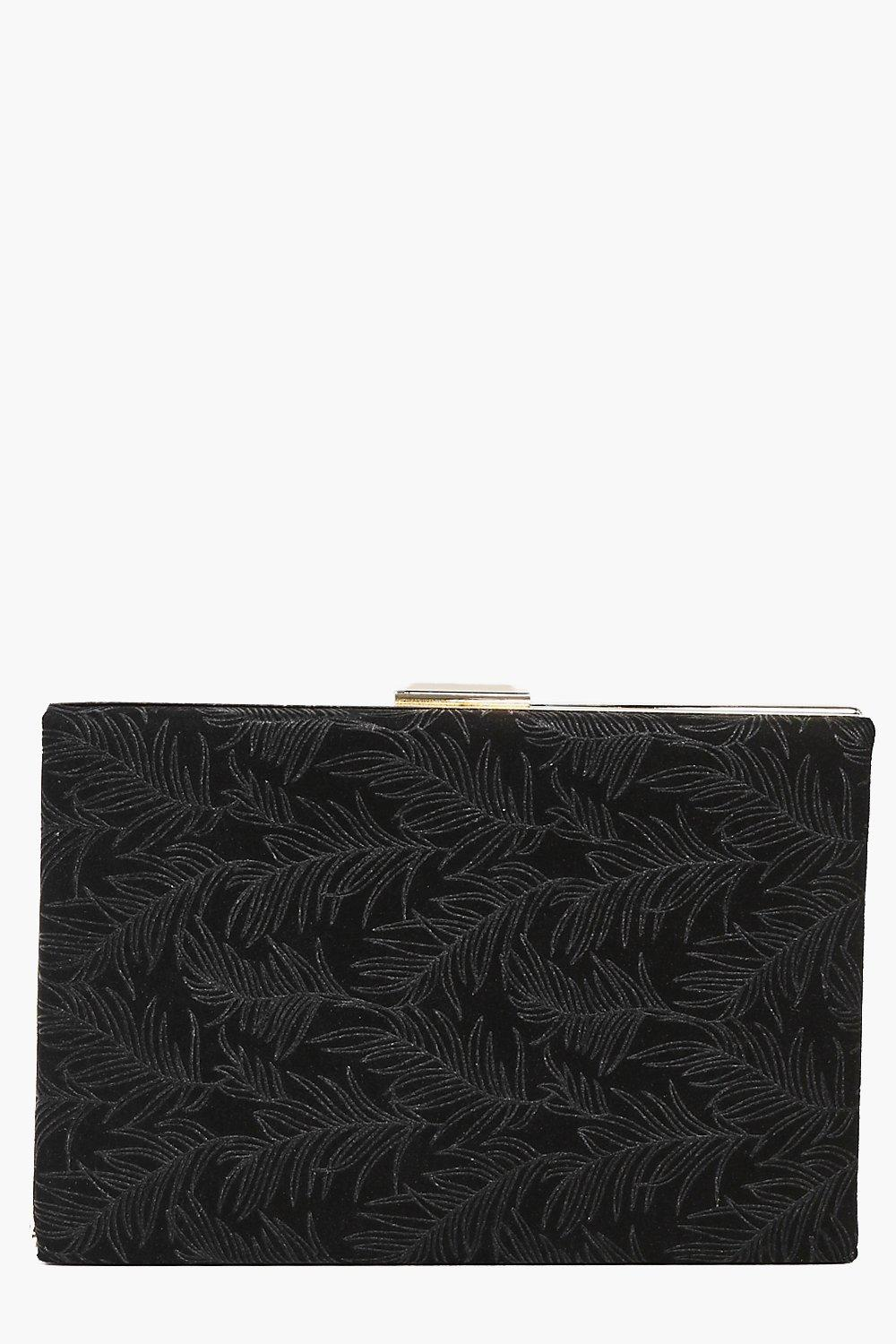 Heidi Eastern Leaf Velvet Box Clutch