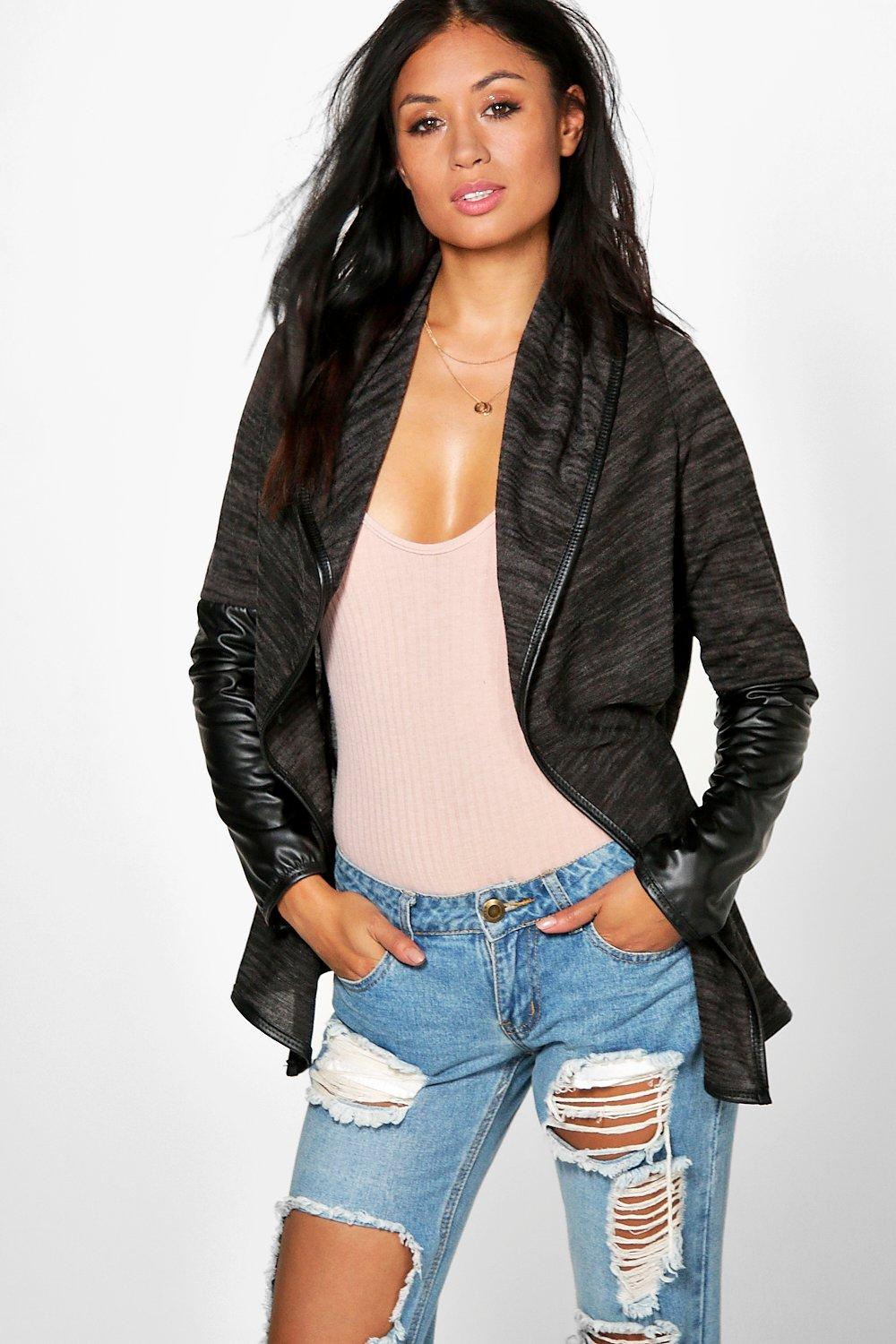 Anna Leather Look Sleeve Waterfall Cardigan