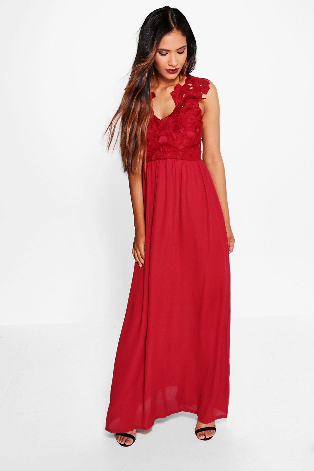 Boutique ula crochet lace maxi dress at for Boohoo dresses for weddings