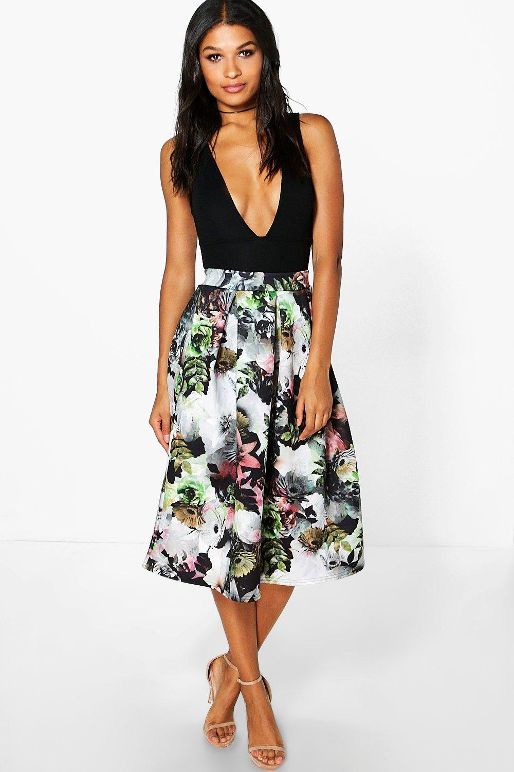 Tabitha Floral Digital Print Full Midi Skirt