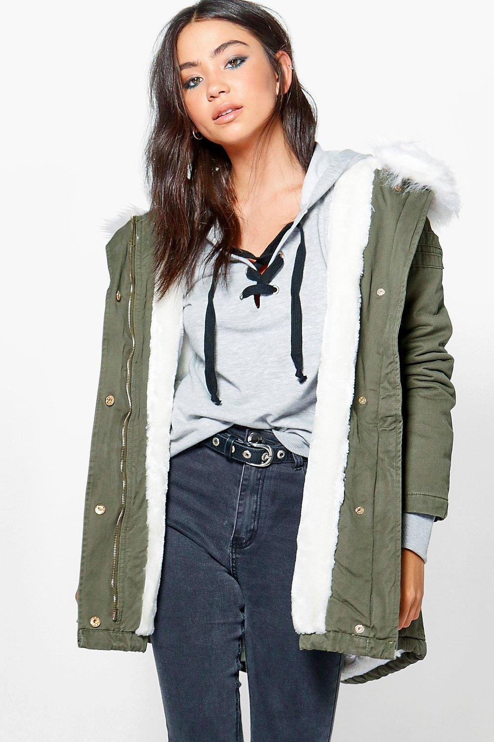 Olivia Boutique Faux Fur Lined Parka