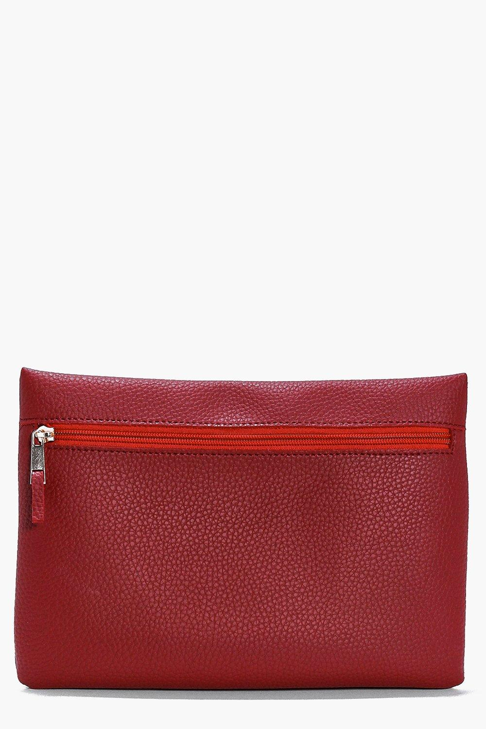 Violet Zip Front Clutch Bag