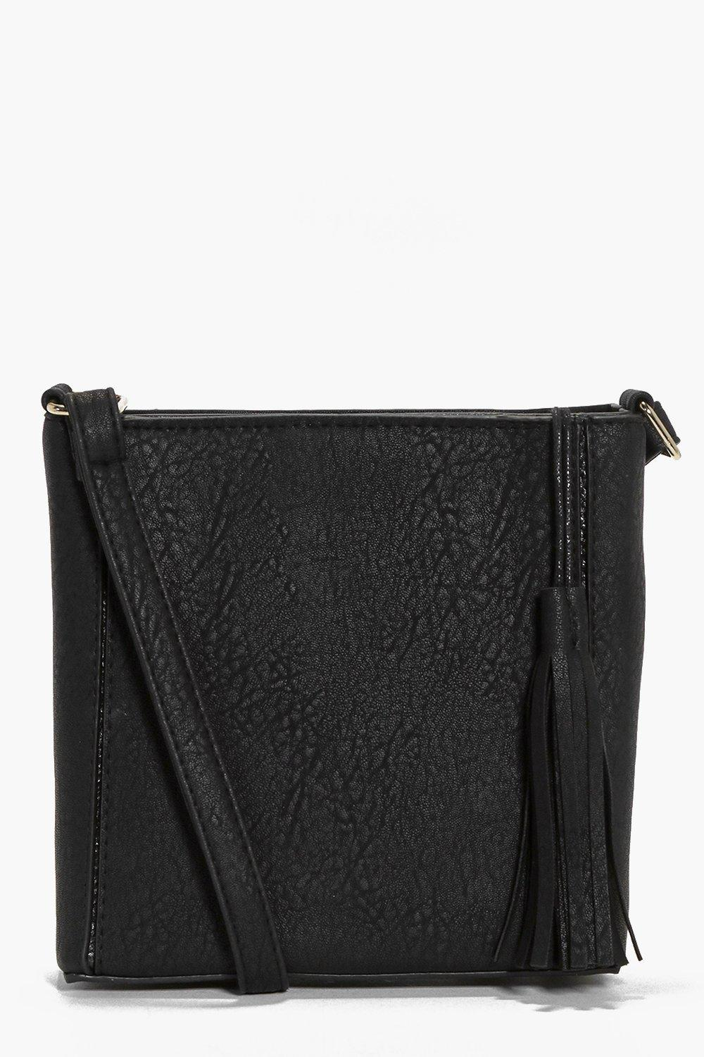 Zoe Square Structured Tassel Cross Body Bag