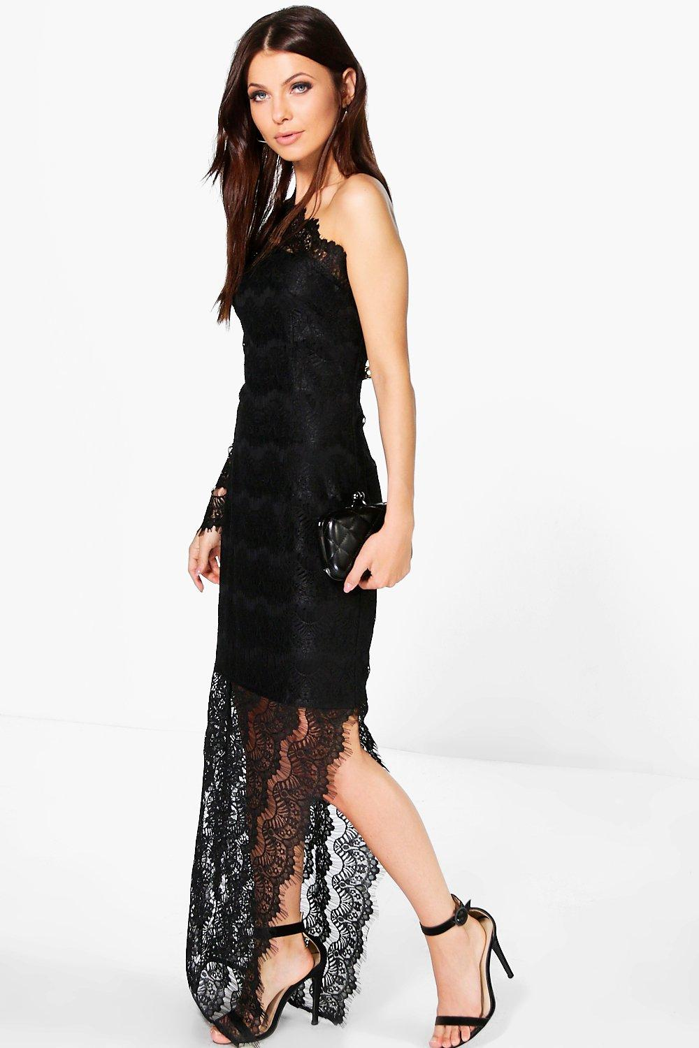 Boutique Olivia Lace One Shoulder Maxi Dress