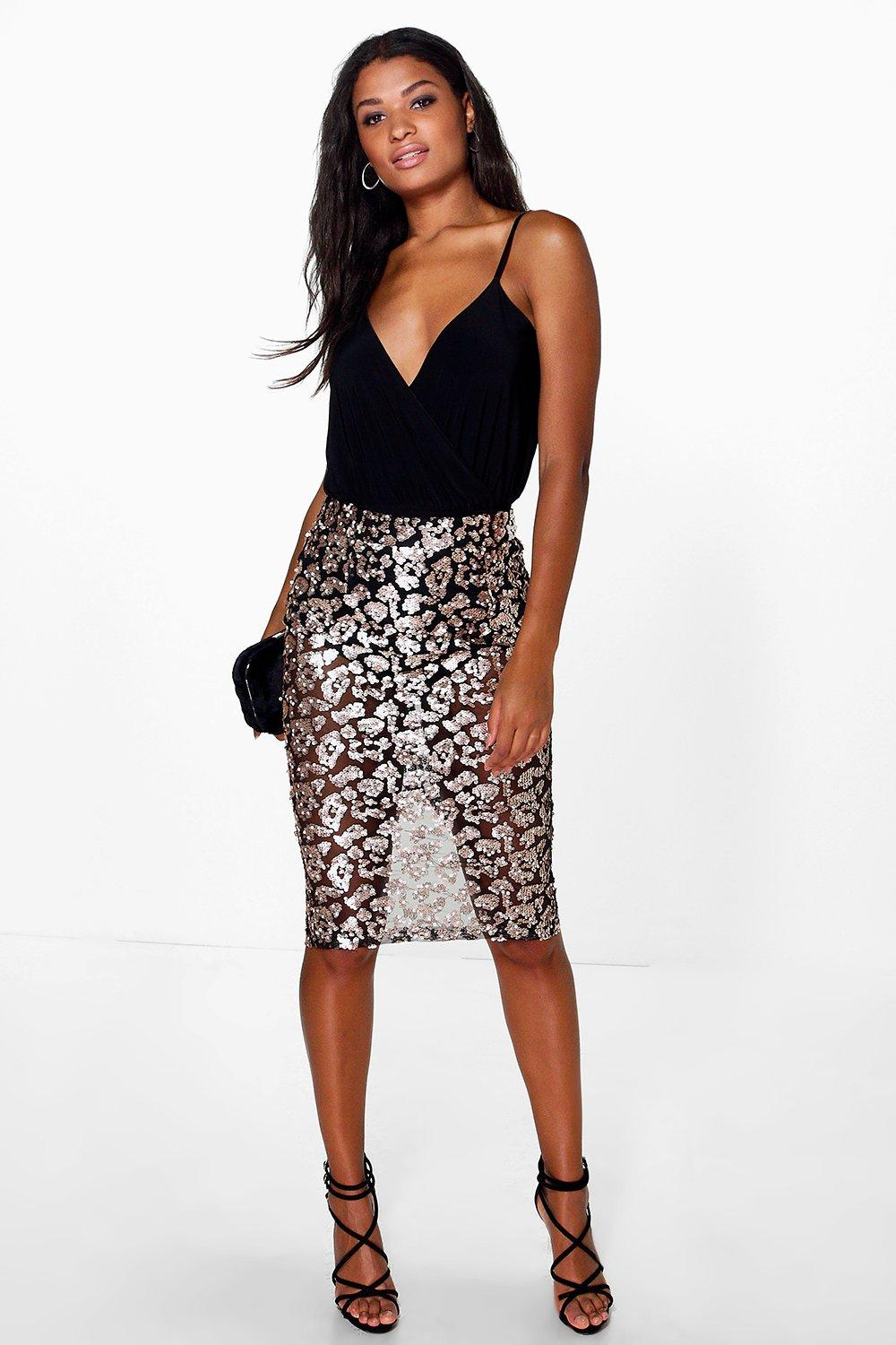 Boutique Luella Sequin Mesh Midi Skirt