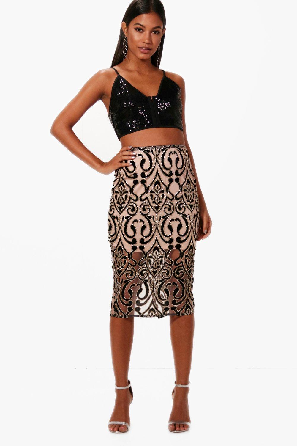 Boutique Avianna Glitter Velvet Midi Skirt at boohoo.com