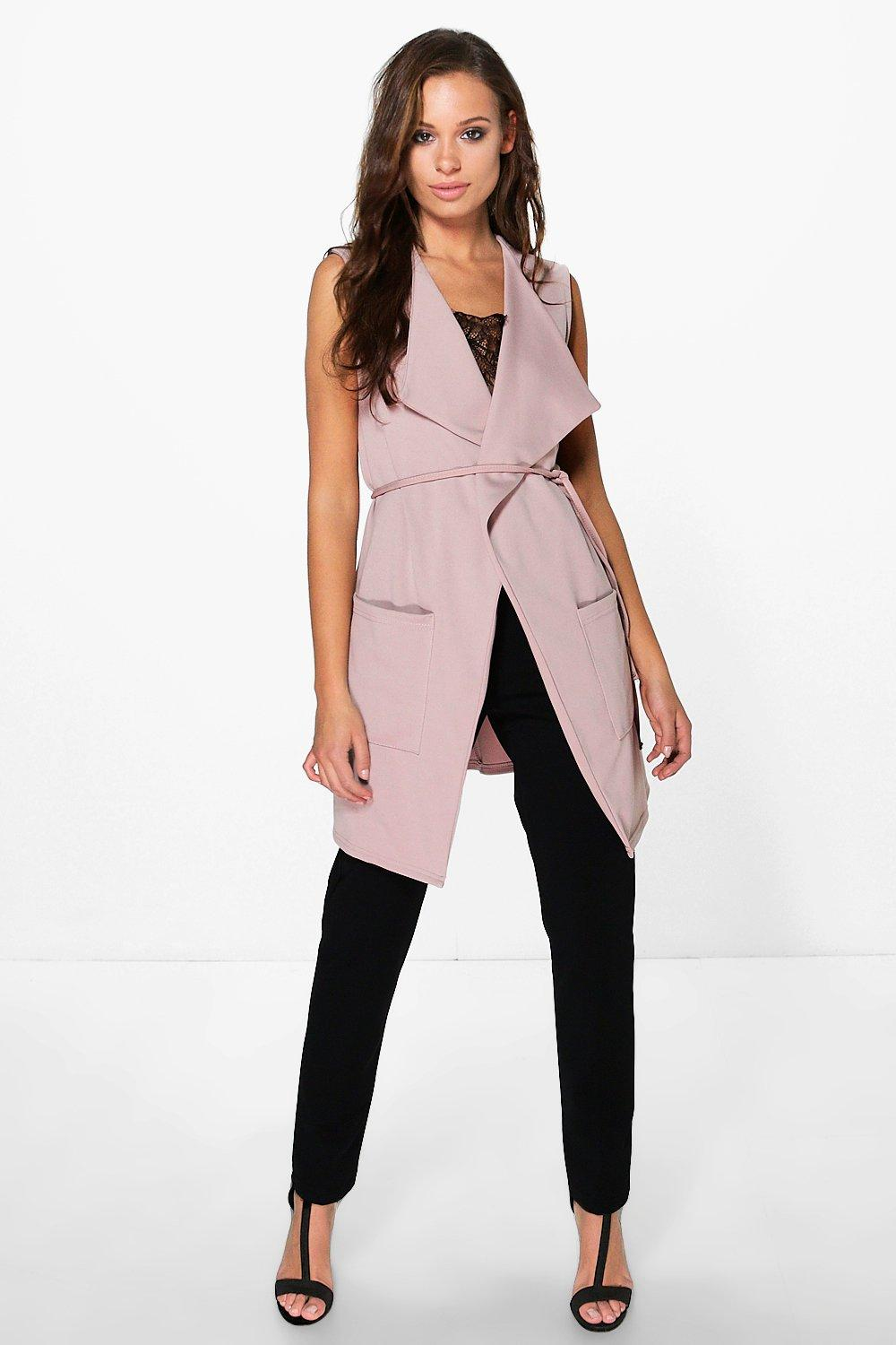 Eliza Sleeveless Belted Waterfall Jacket