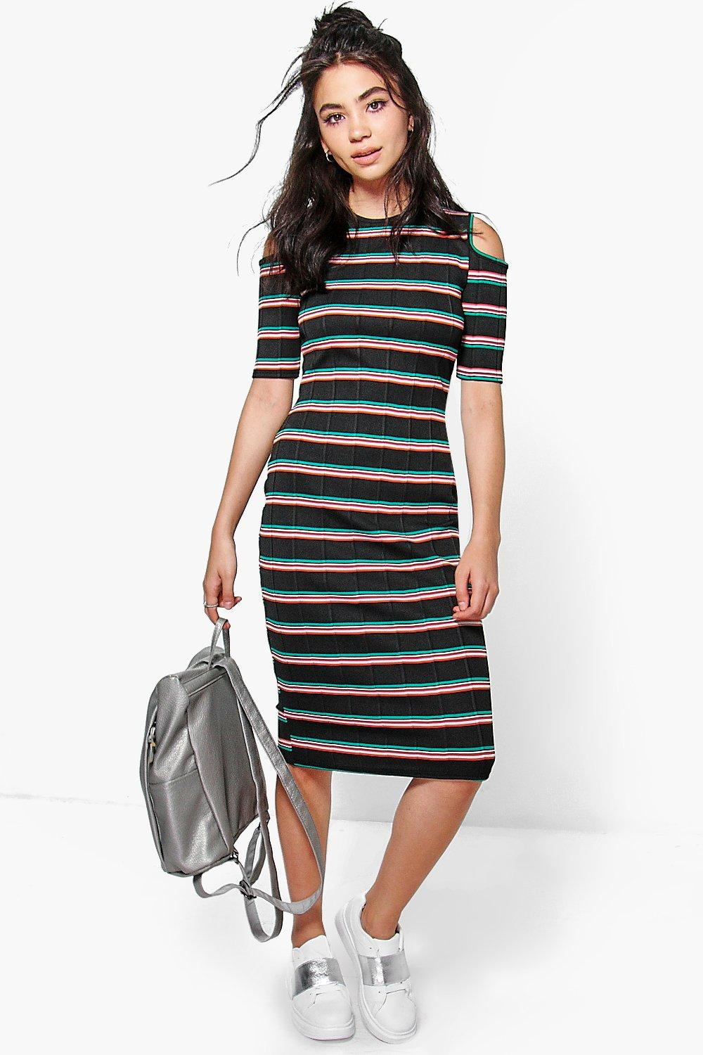 Tammy Stripe Cold Shoulder Midi Dress