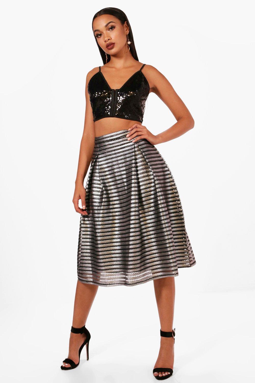 Nova Metallic Full Midi Skirt at boohoo.com