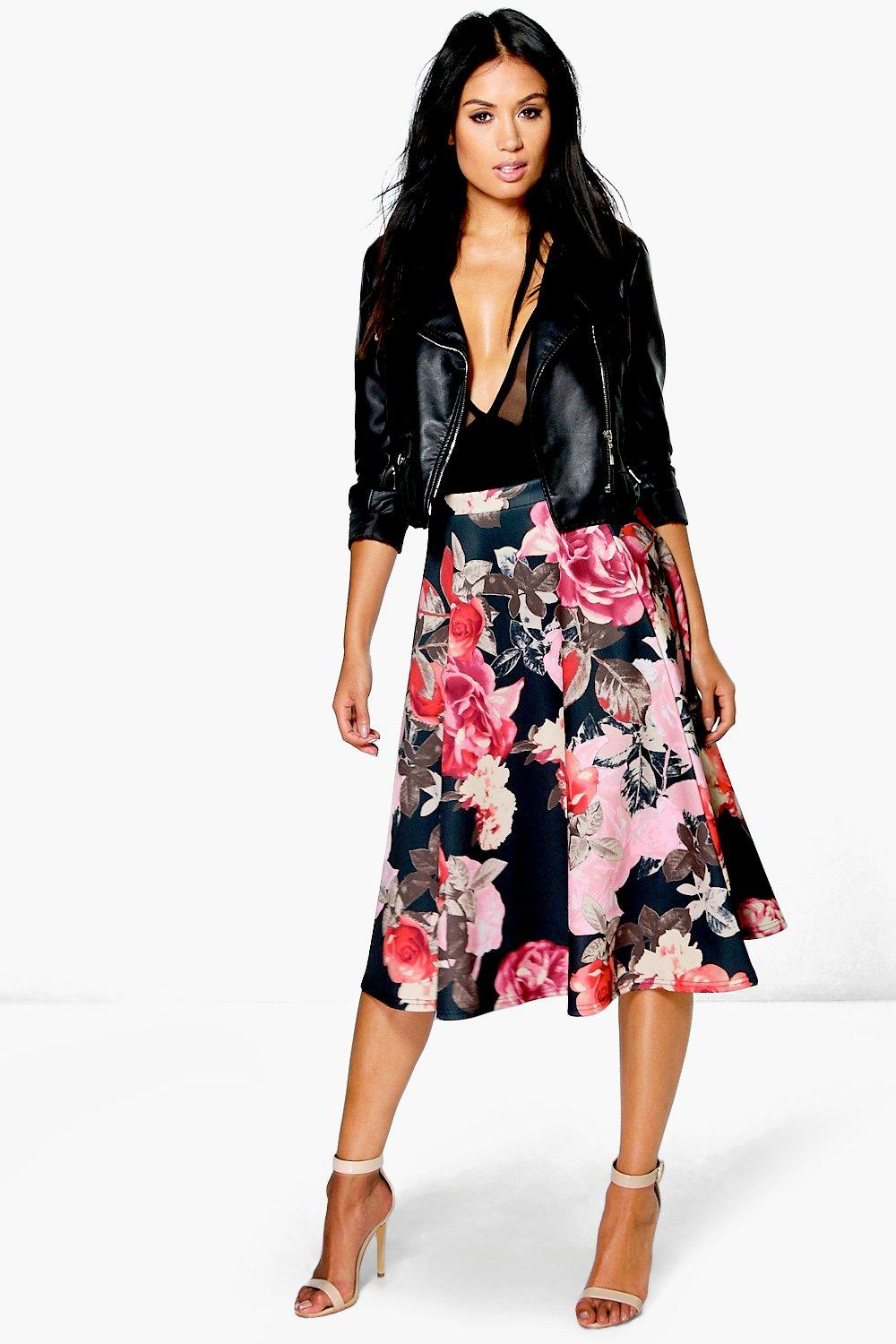 Amya Digital Floral Print Full Midi Skirt