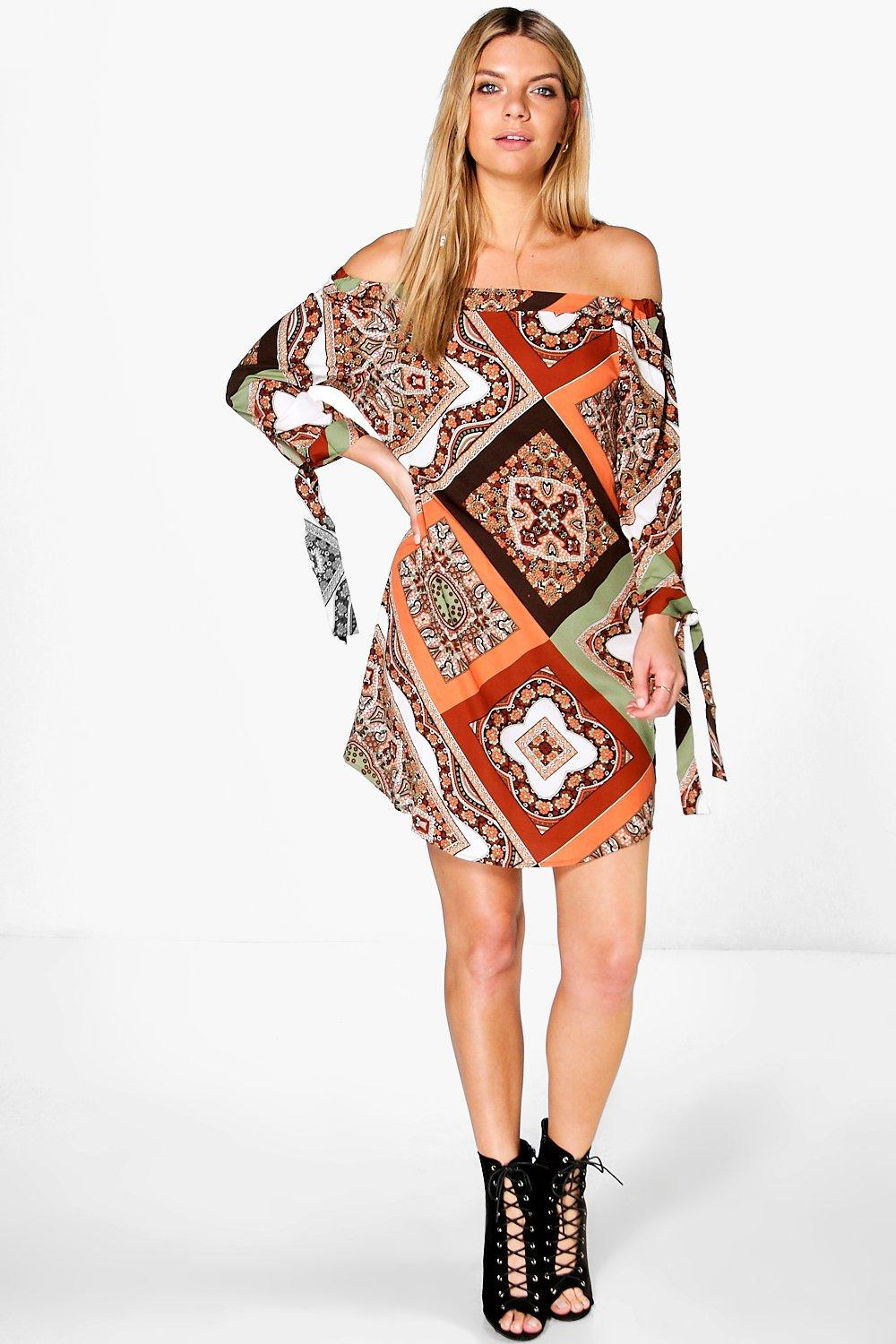 Anna Multi Paisley Print Off Shoulder Dress