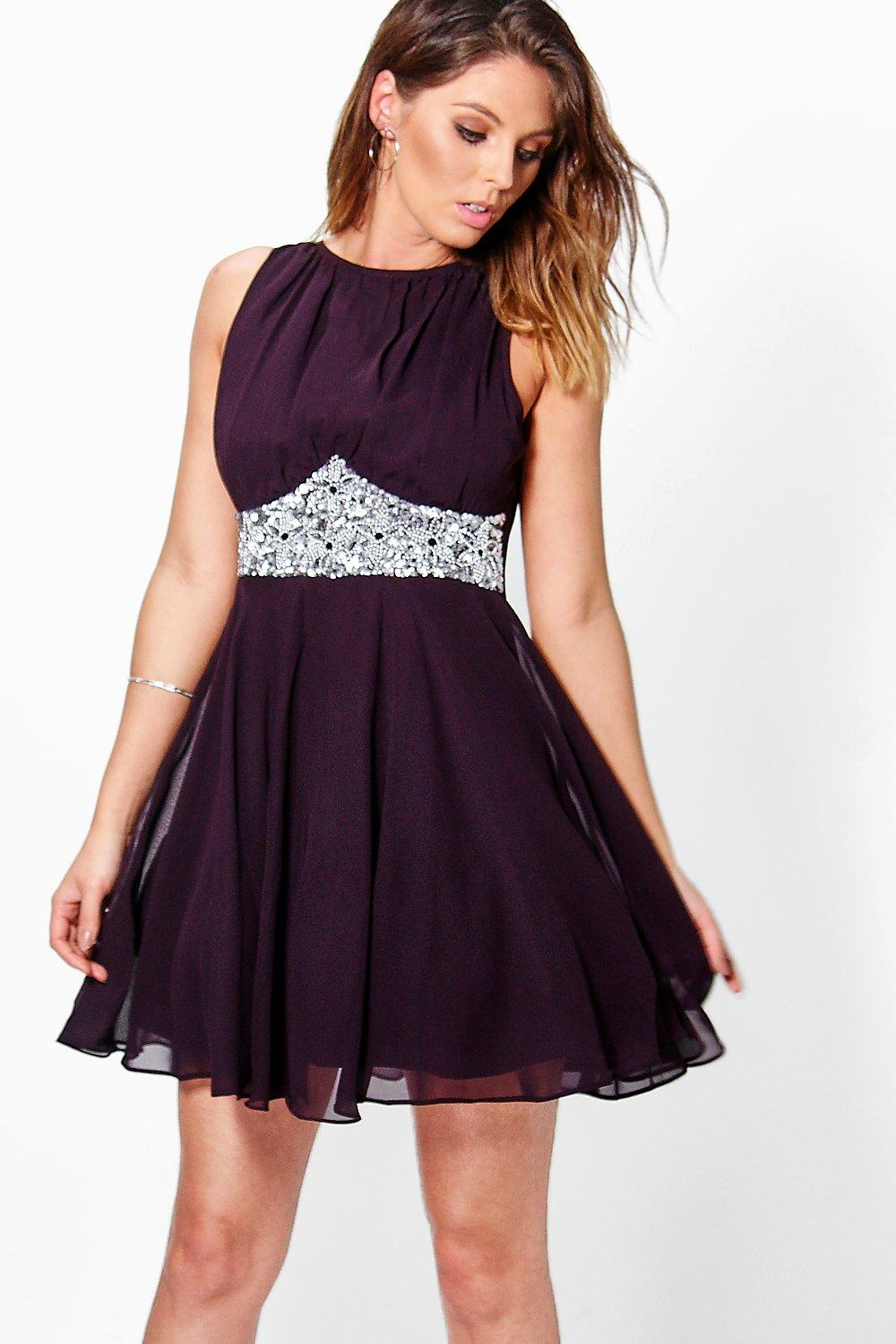 Boutique asha embellished prom dress at for Boohoo dresses for weddings