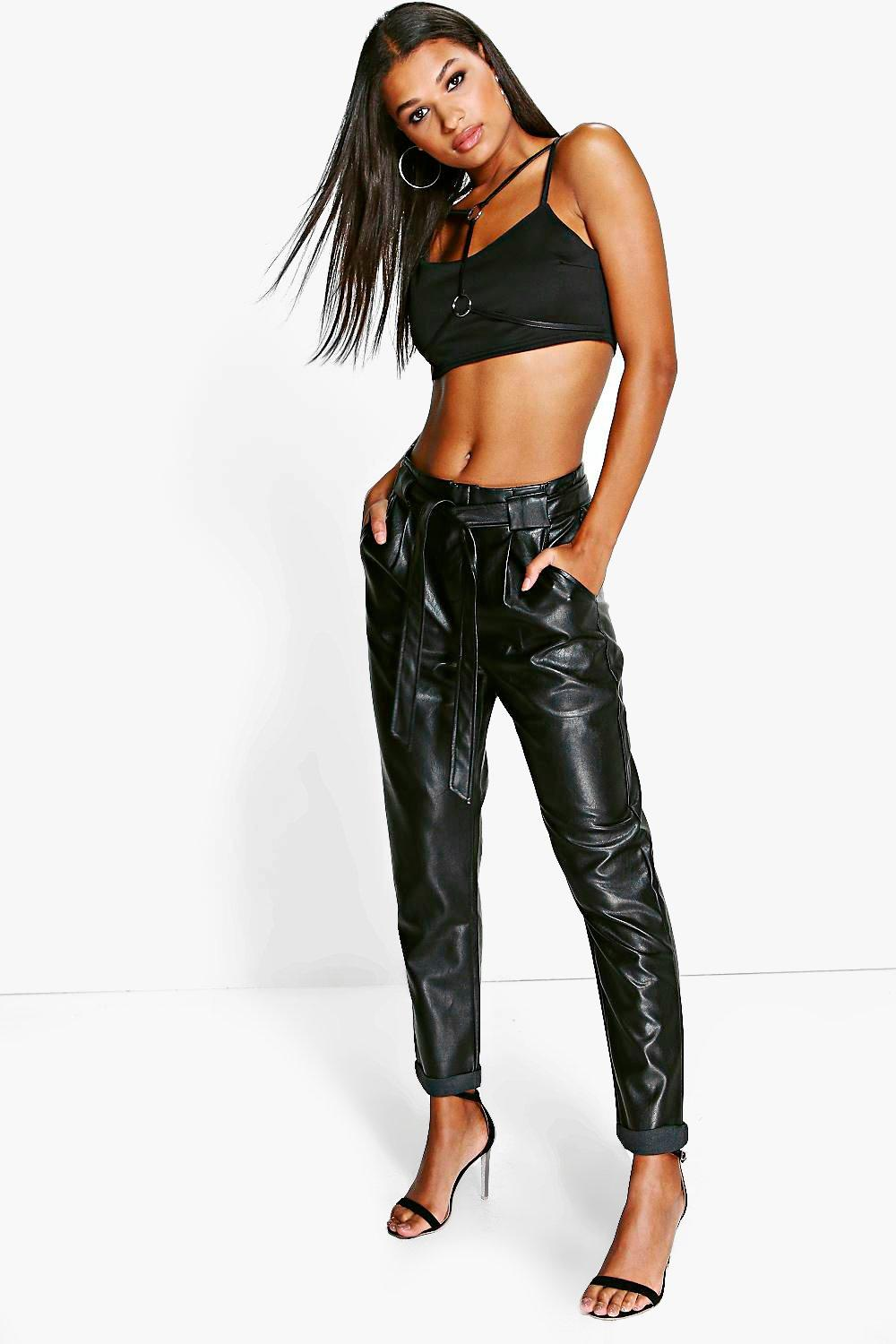 Anouk Tie Waist Leather Look Slim Fit Trousers