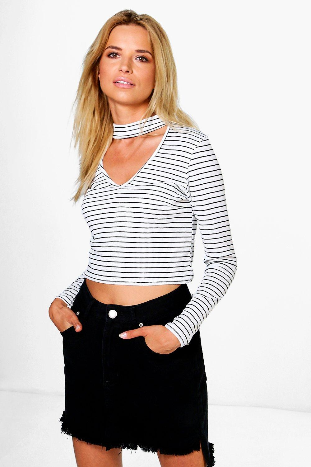 Becca Ribbed Striped Choker Long Sleeve Top