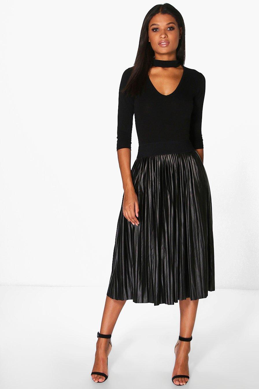 Jeana Metallic Pleated Midi Skirt at boohoo.com