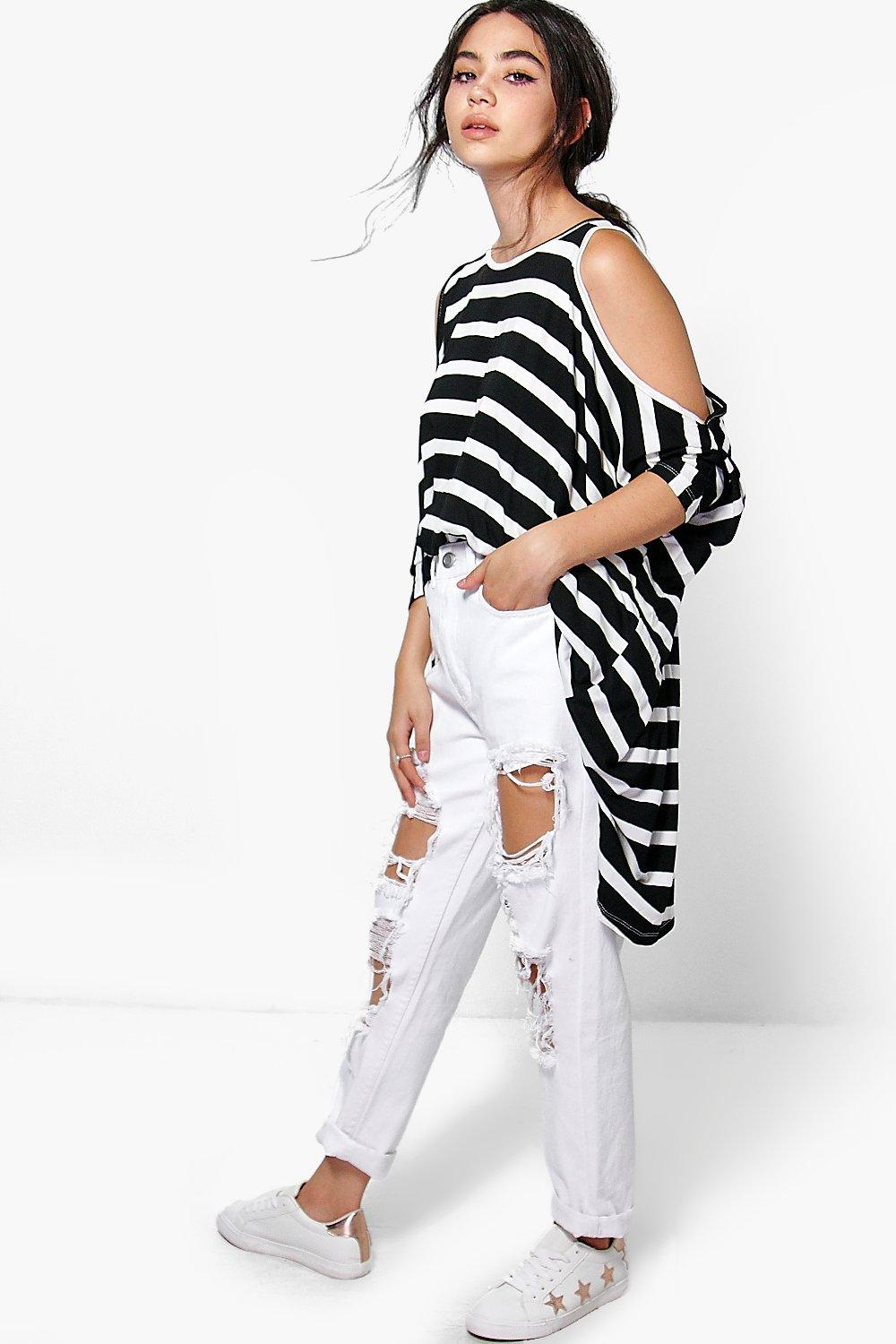 Kate Stripe Oversized Cold Shoulder Top