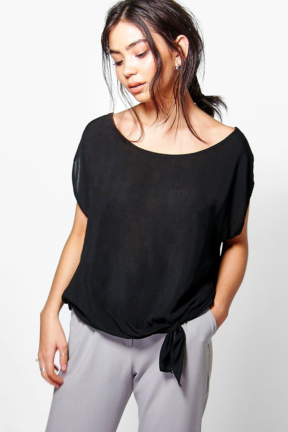 Georgia Woven Oversized Tie Front Top
