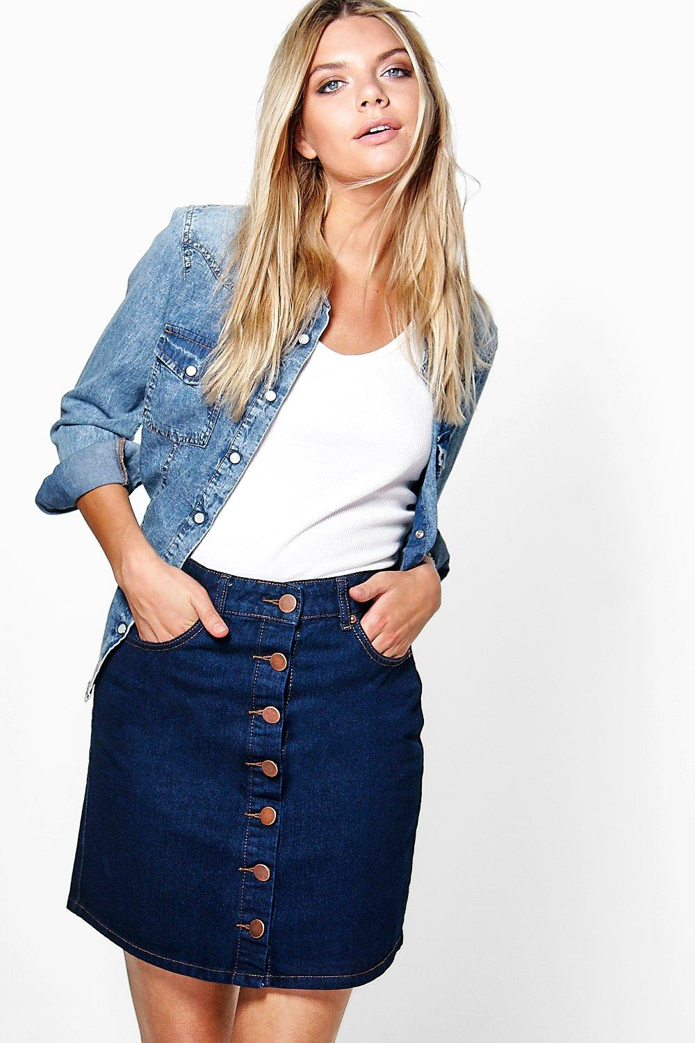 Sally Button Through Indigo Denim Skirt