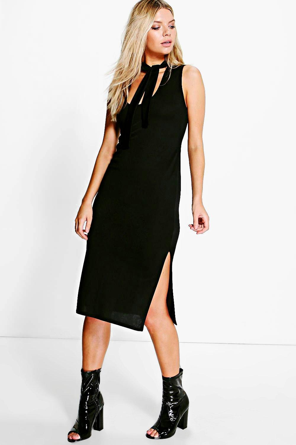Timi Tie Neck with Side Splits Midi Dress