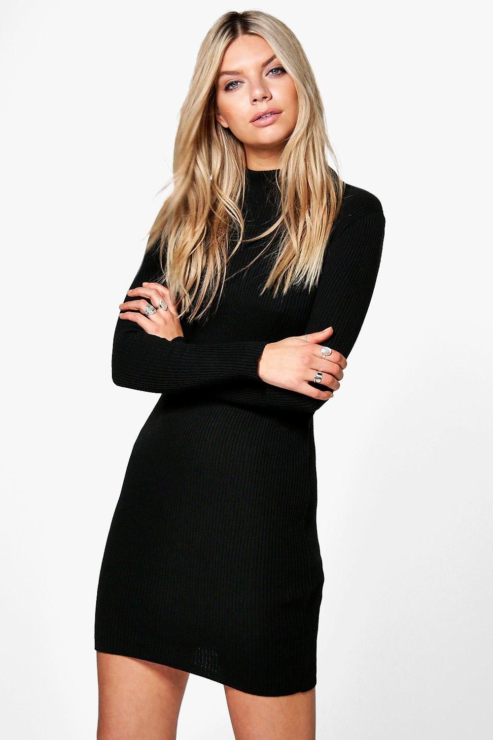 Erin Turtle Neck Rib Knit Dress