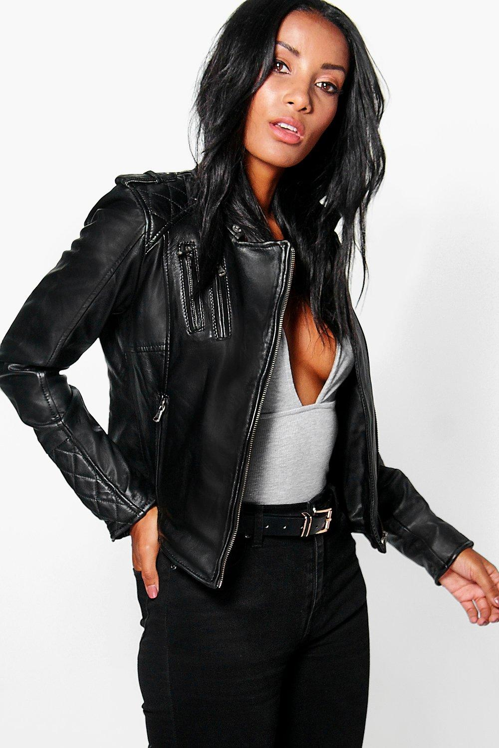 Boutique Lois Zip Detail Leather Jacket
