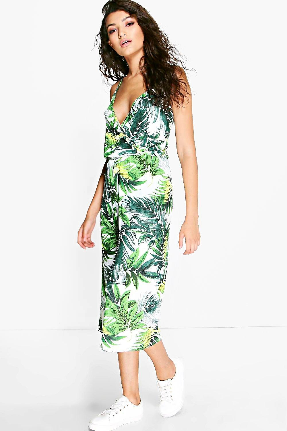 Amy Palm Print Wrap Culottes Jumpsuit