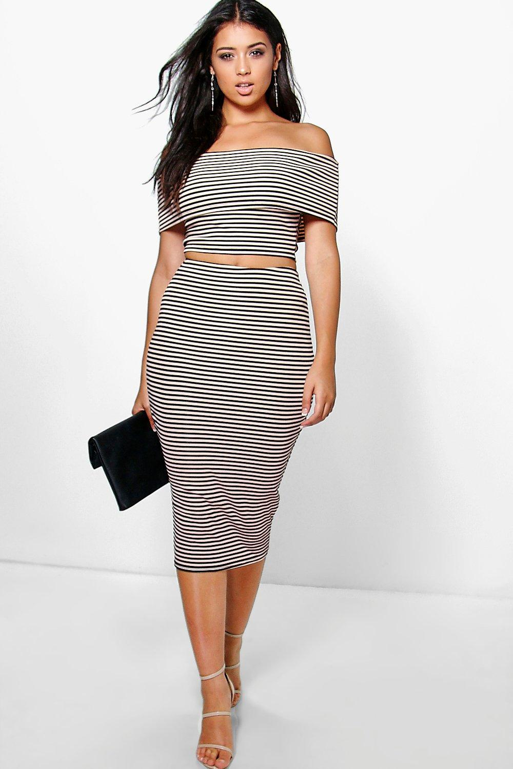 Lexi Ribbed Stripe Off The Shoulder Top + Midi Skirt