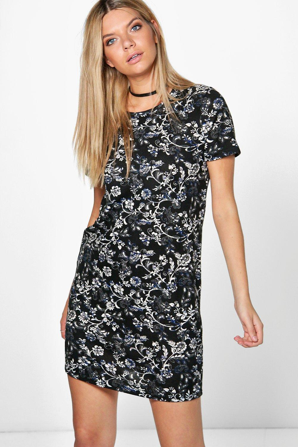 Emma Floral Brushed Knit Shift Dress