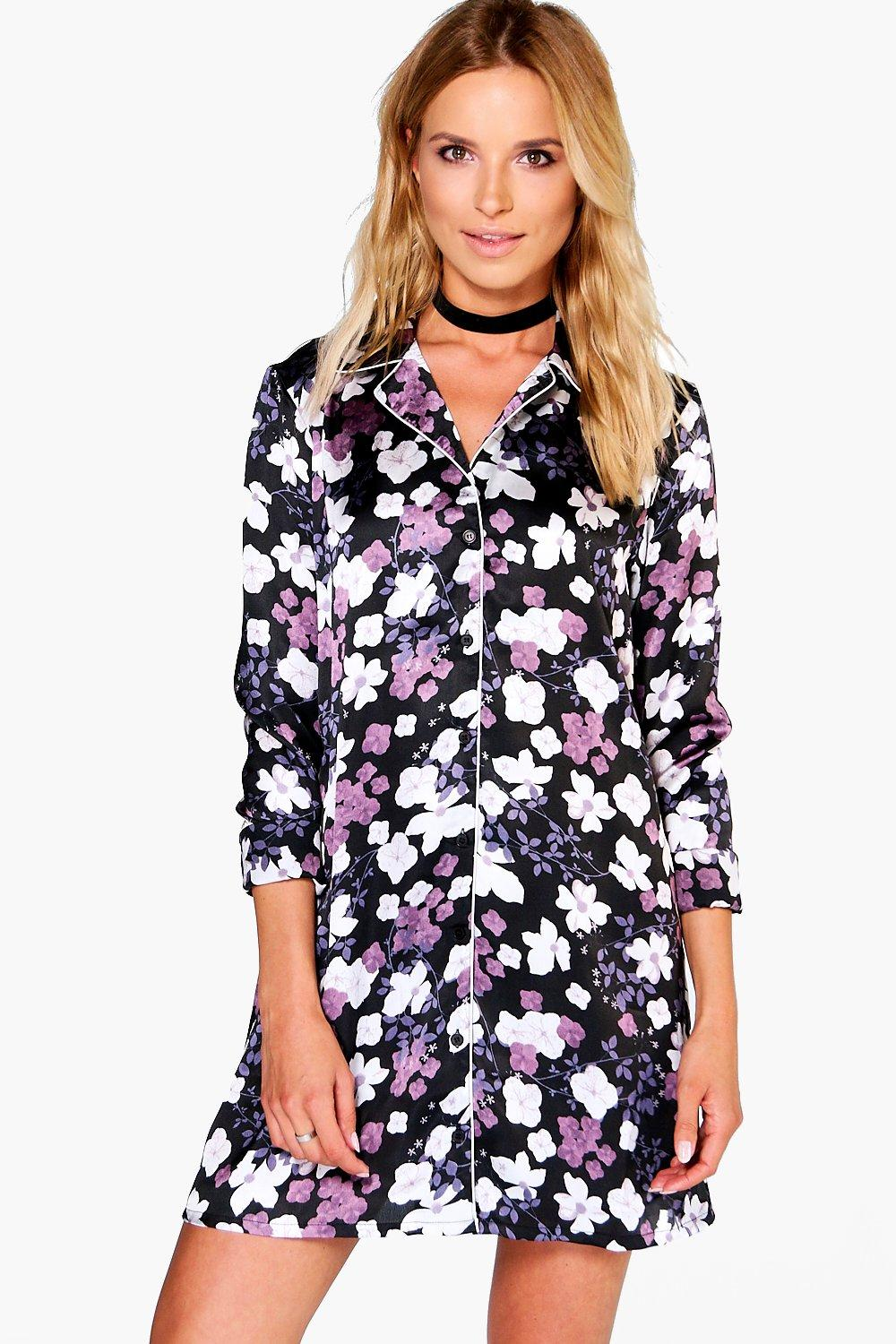Flossie Floral Satin Piping Shirt Dress