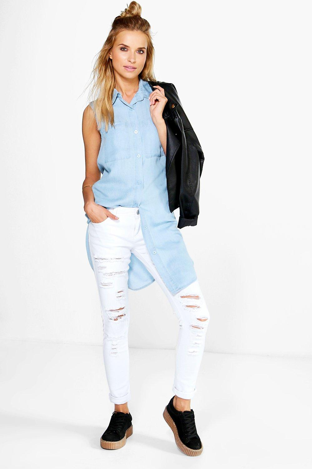 Hannah Sleeveless Longline Denim Shirt