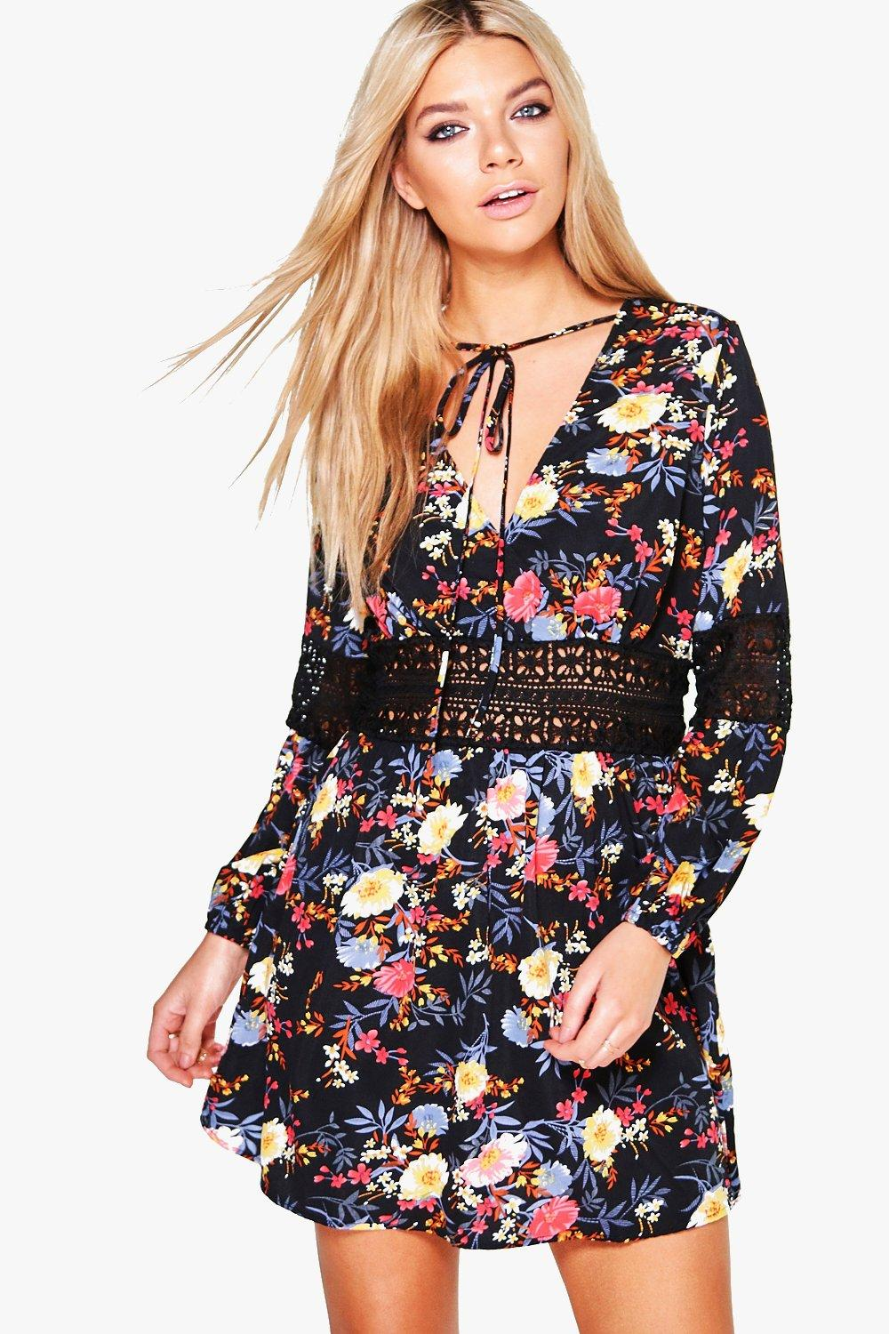 Lucy Floral Lace Insert Tie Neck Skater Dress