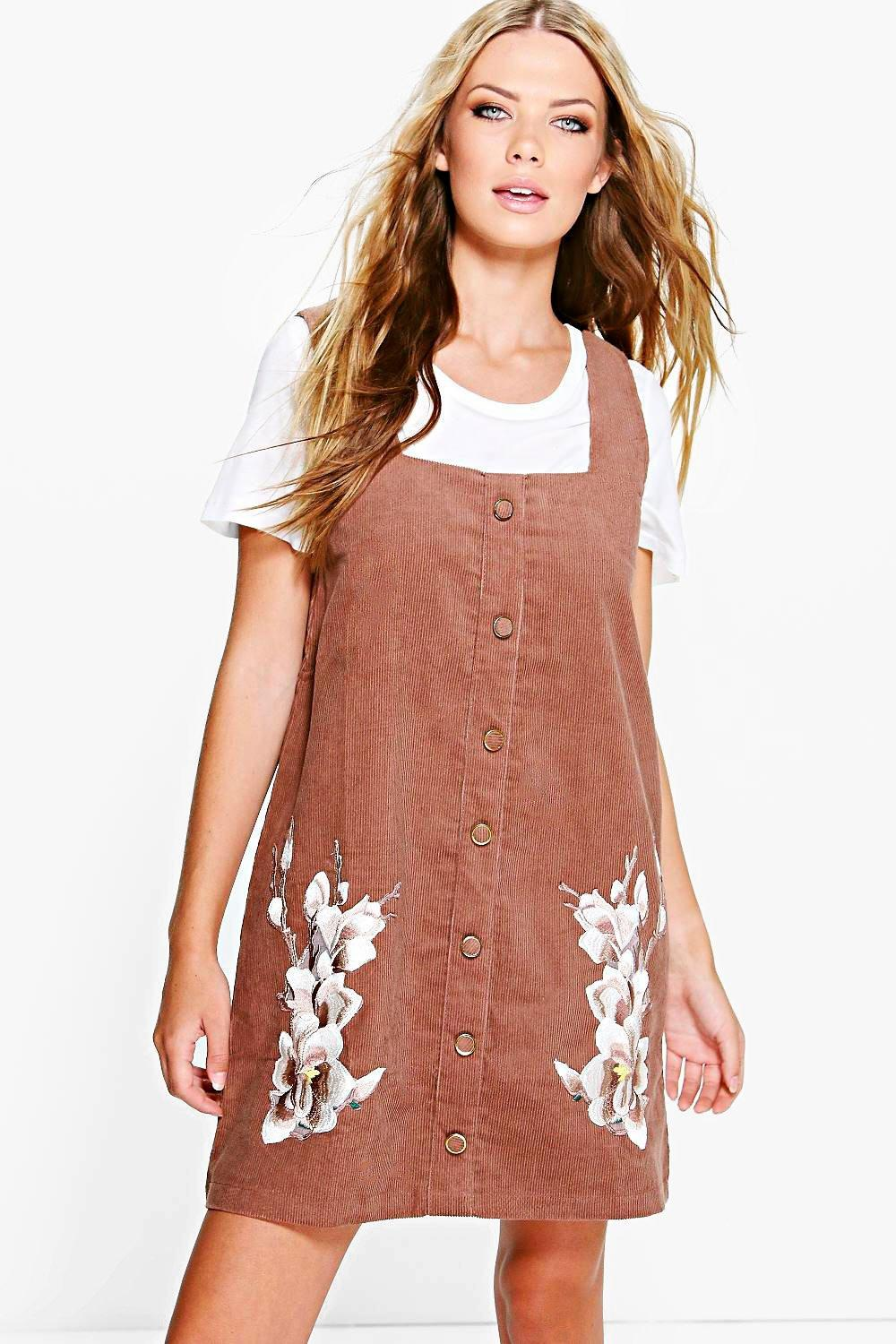 Millie Corduroy Applique Pinafore Dress