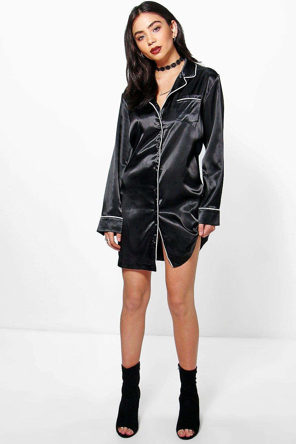 Pandy Satin Pyjama Shirt Dress