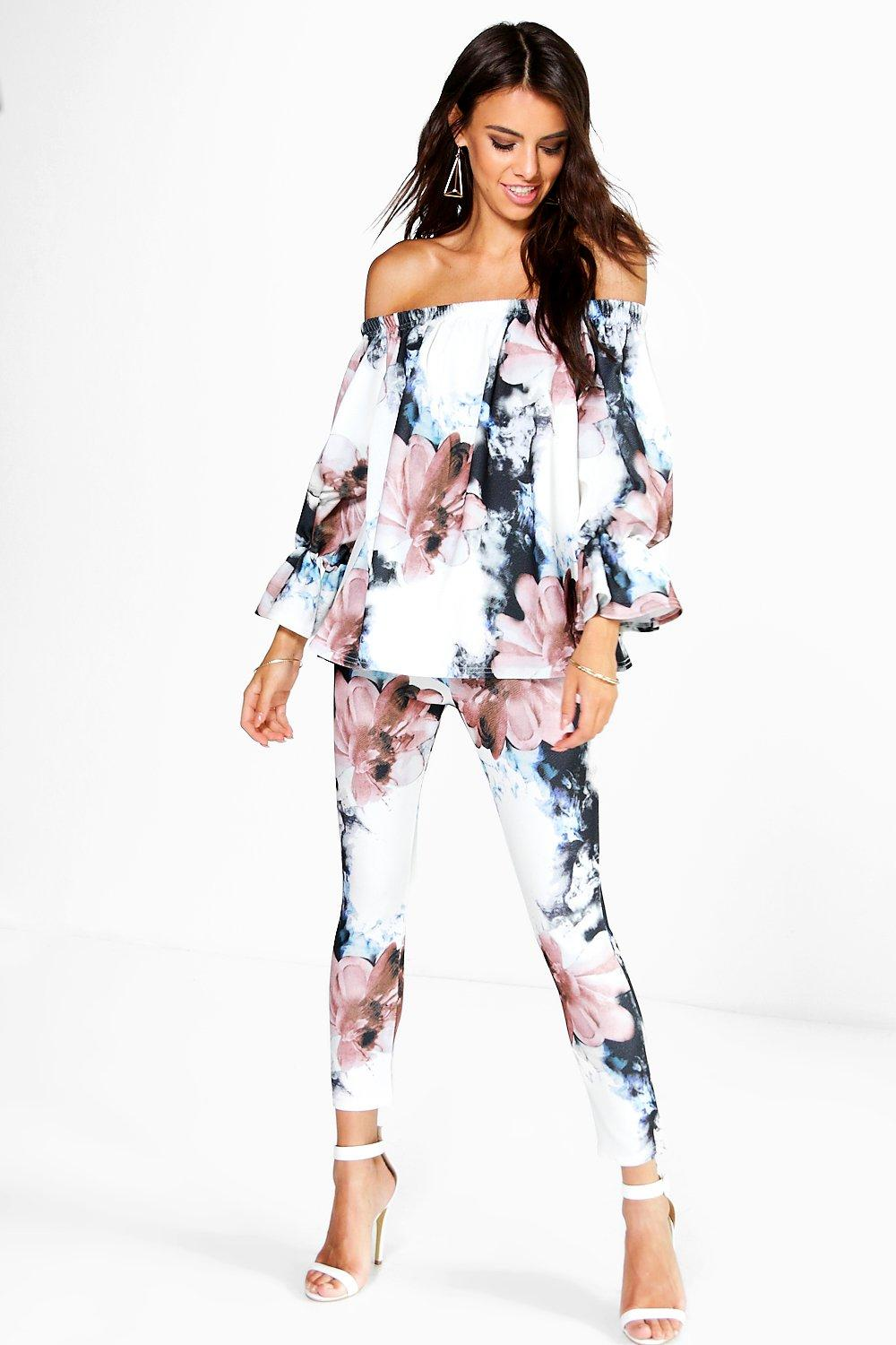 Bonnie Floral Off the Shoulder Top + Skinny Trouser