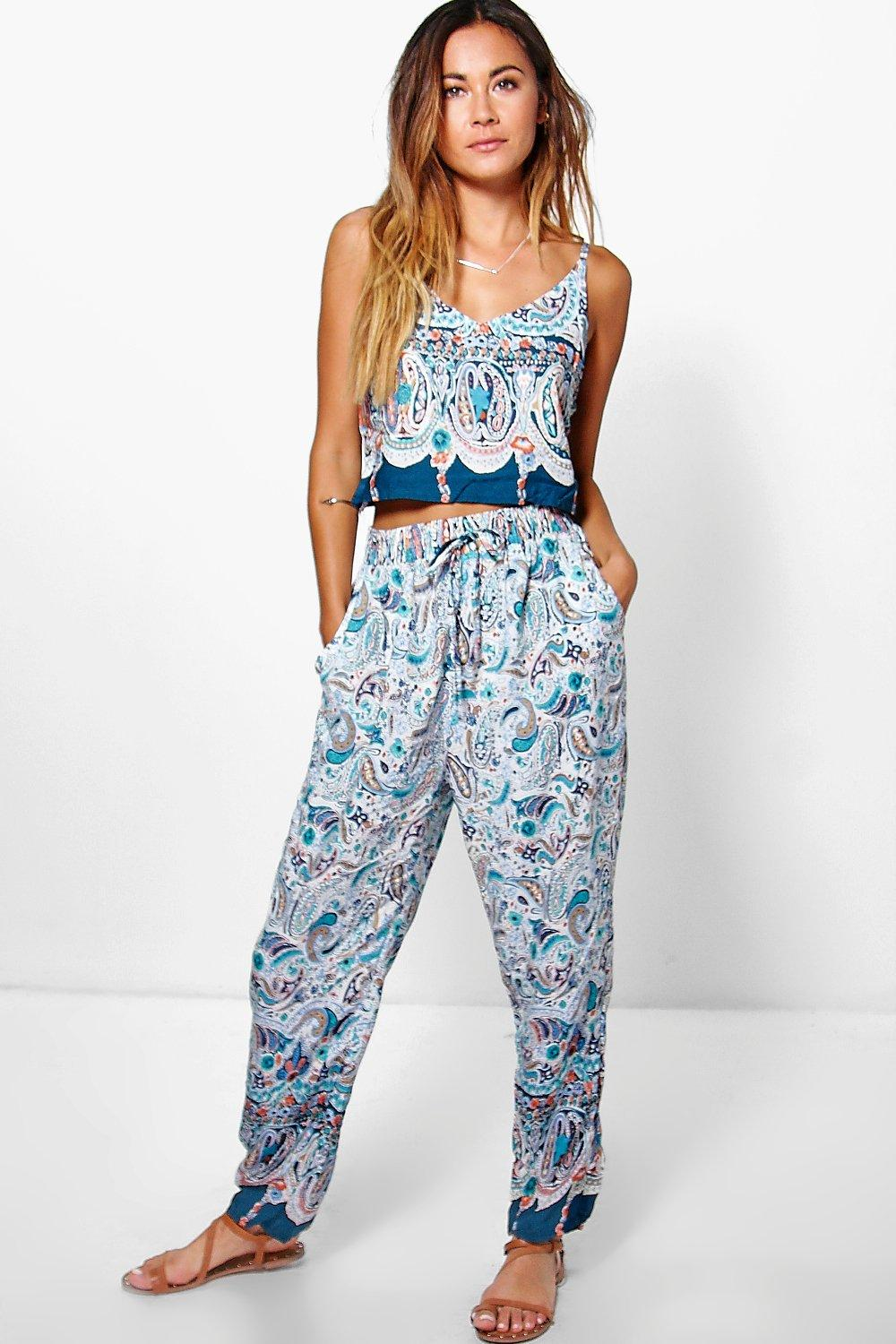 Rita Boarder Print Woven Cami Top + Trouser Co-Ord