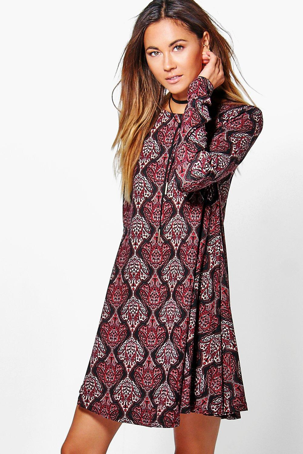 Maddy Paisley Brushed Knit Swing Dress