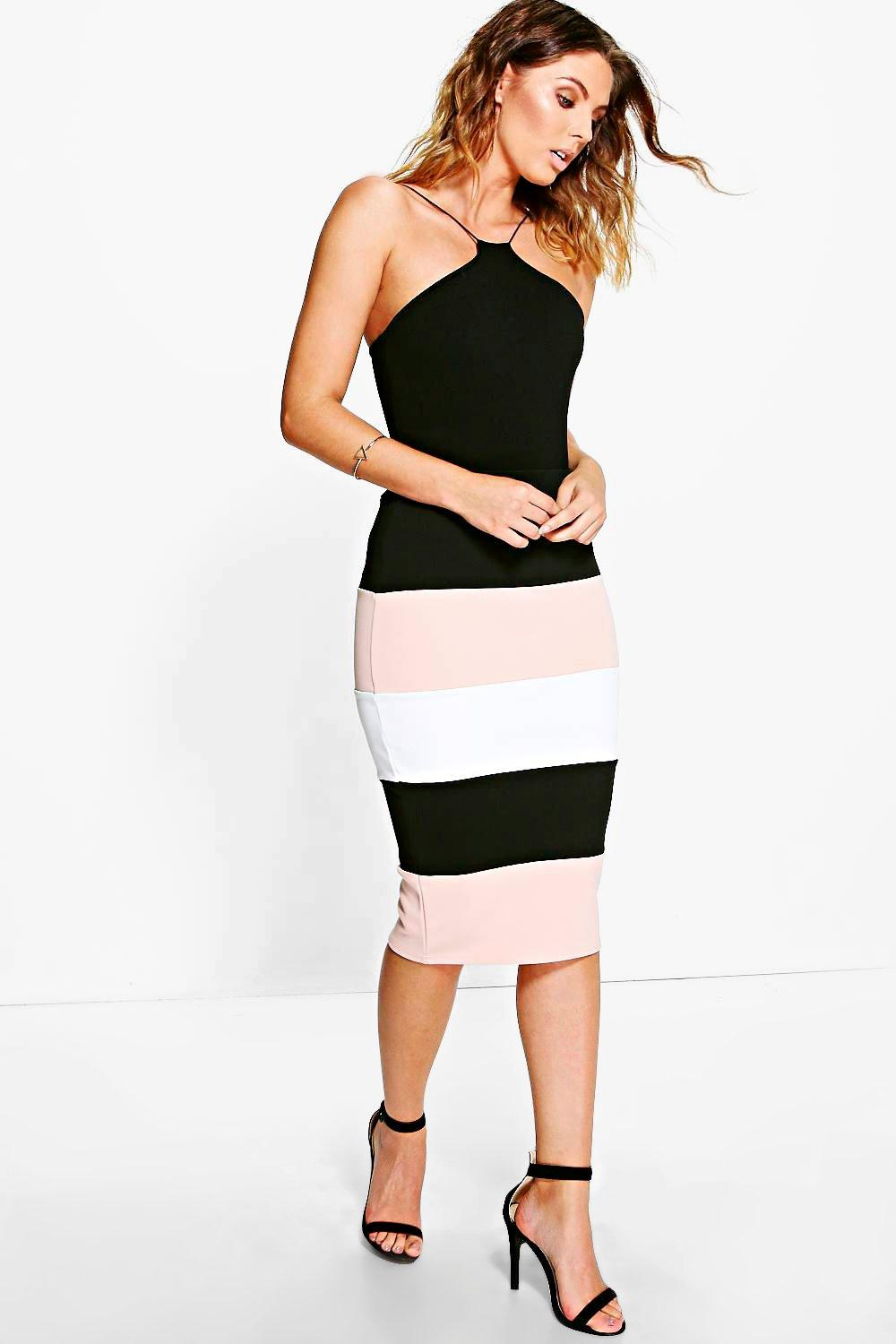 Avah Colour Block Bodycon Midi Skirt