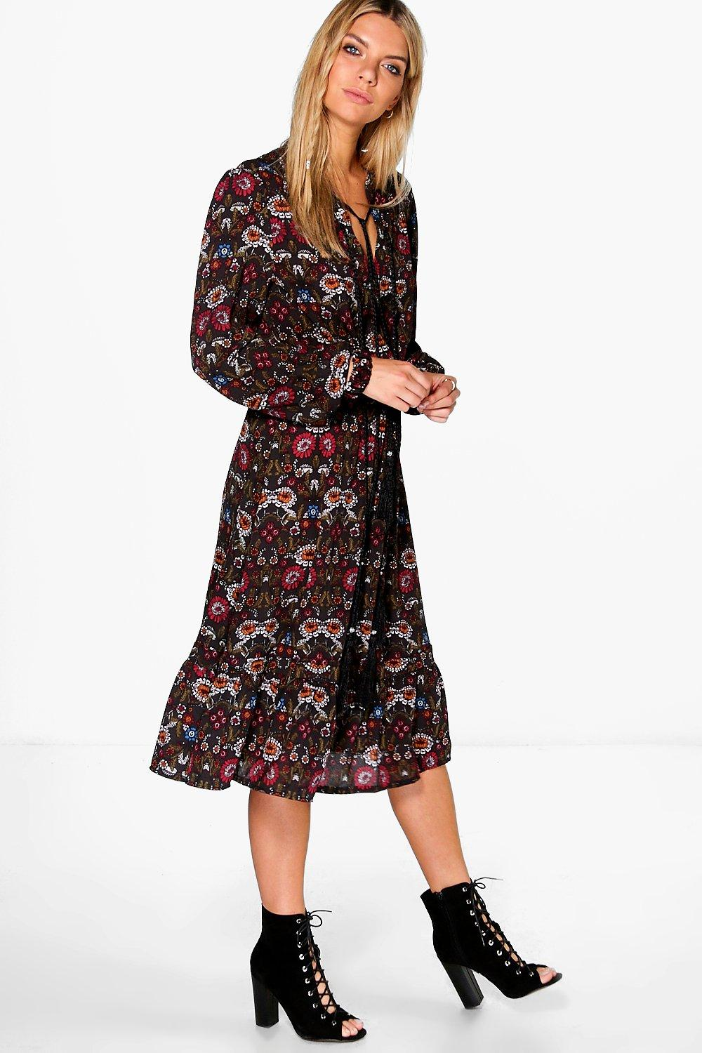 Ella Floral Tassel Tie Long Sleeve Midi Dress