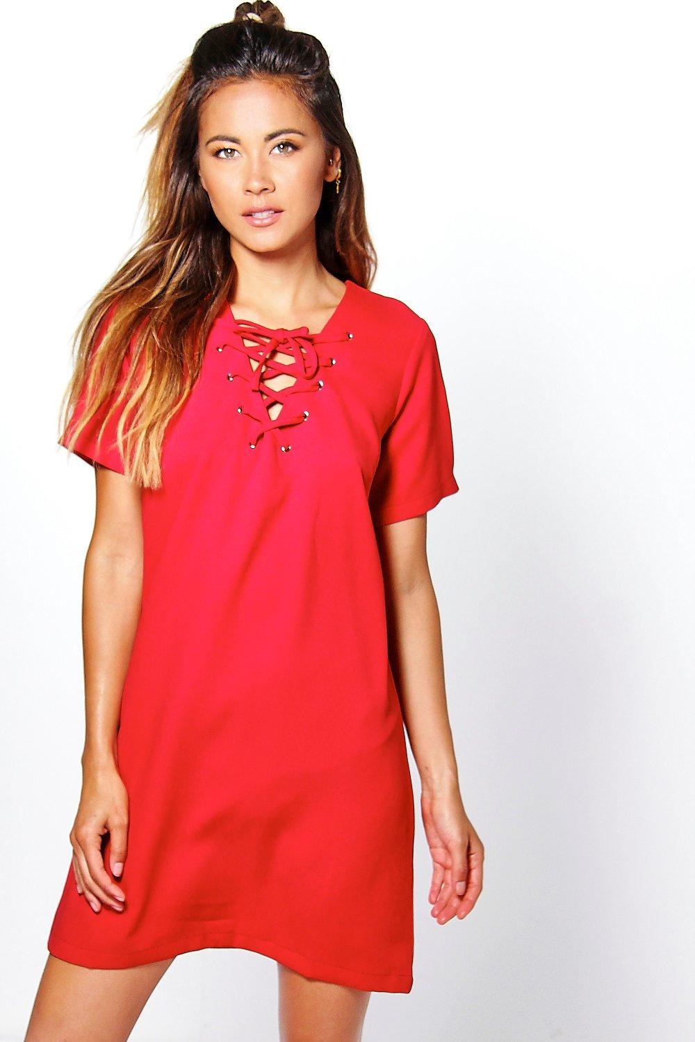 Kelly Lace Up Shift Dress