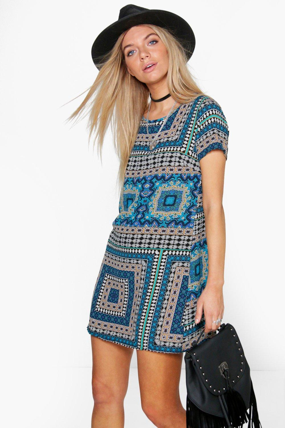 Heidi Paisley Cap Sleeved Shift Dress