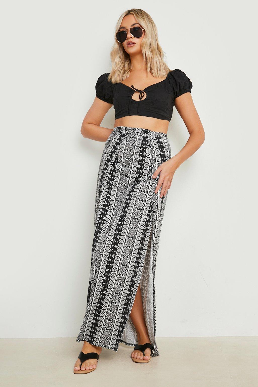 Samara Monochrome Thigh High Split Maxi Skirt at boohoo.com