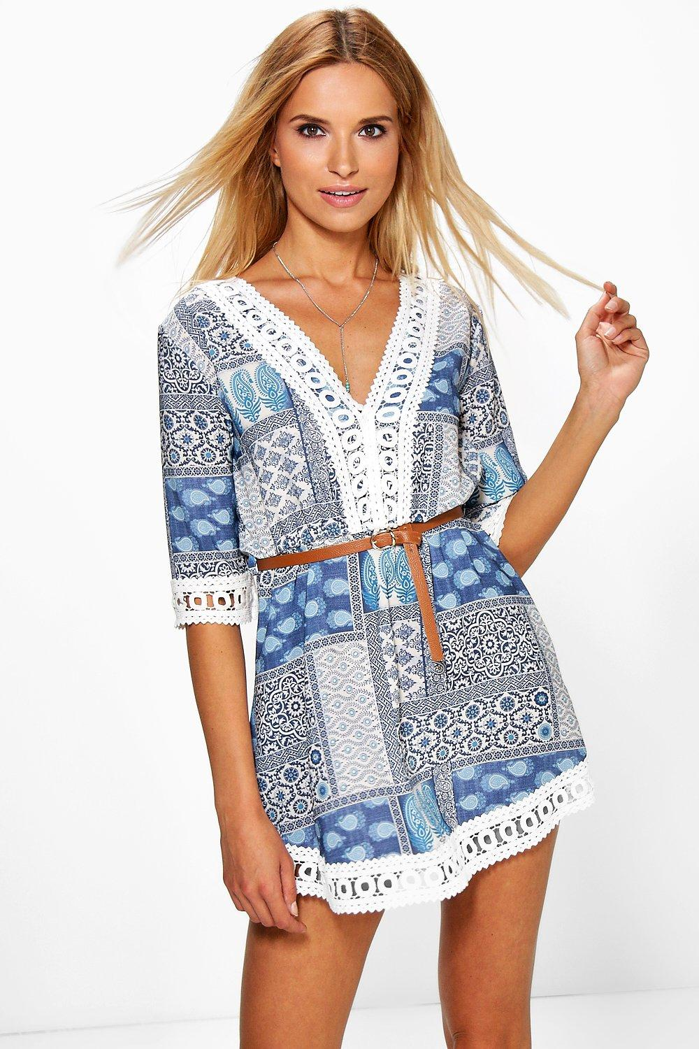 Brigitte Printed Lace Trim Dress With Belt
