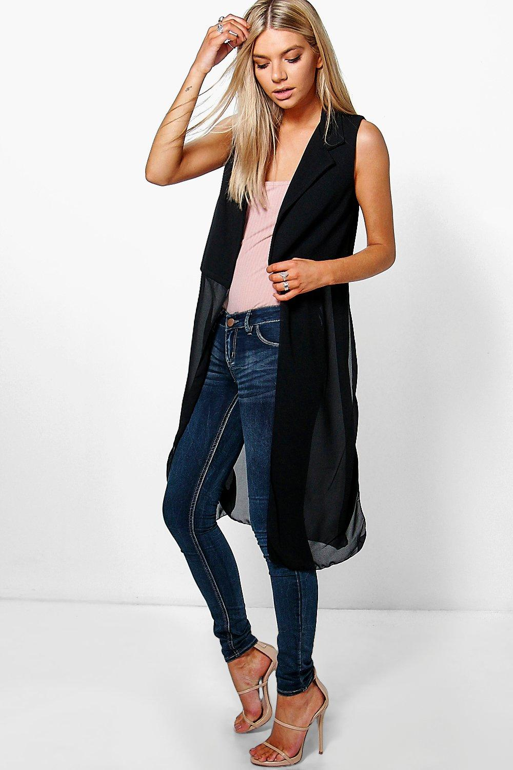 Ella Sleeveless Chiffon Detail Duster