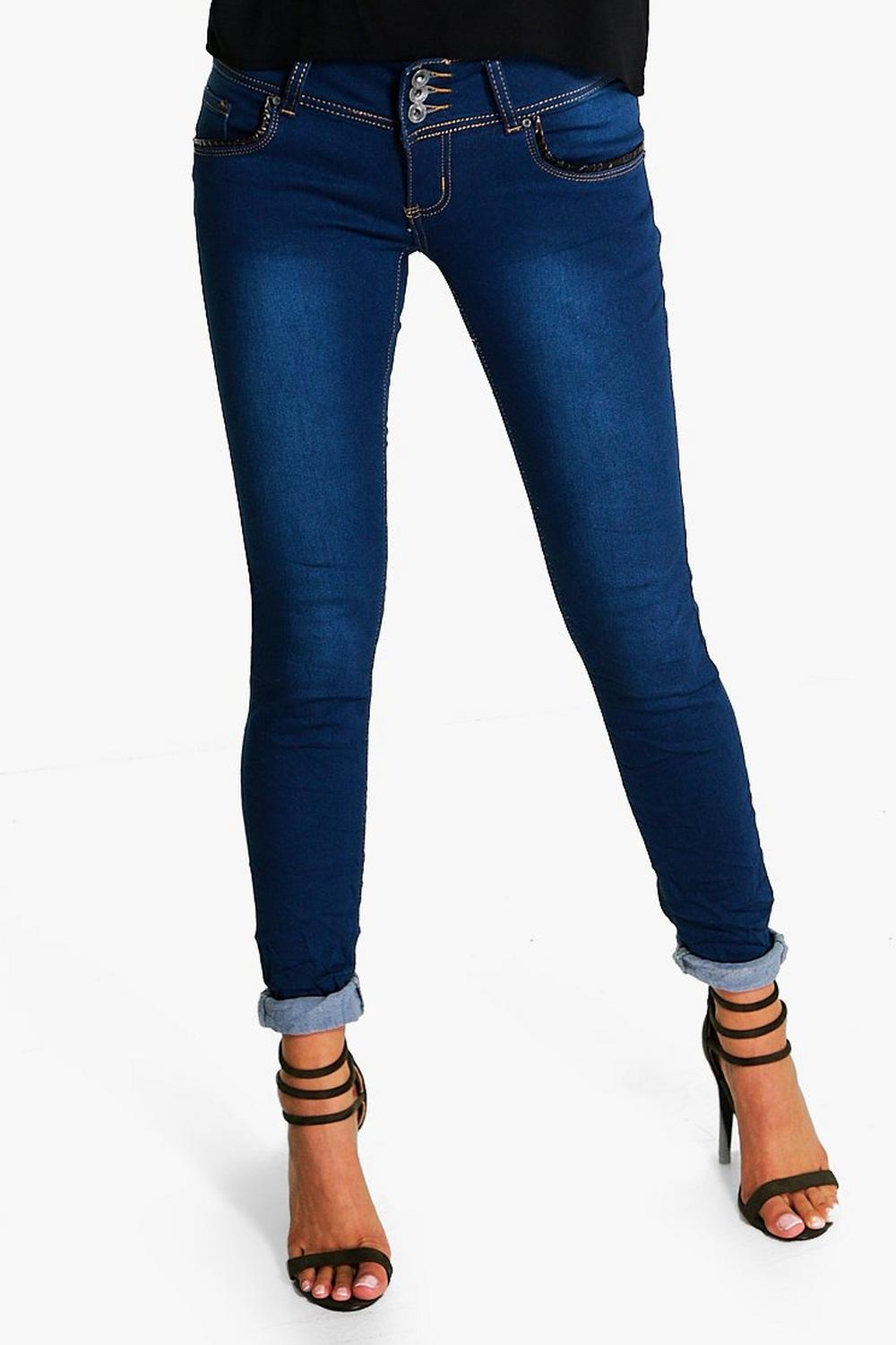 Julie Mid Rise 3 Button Skinny Jeans