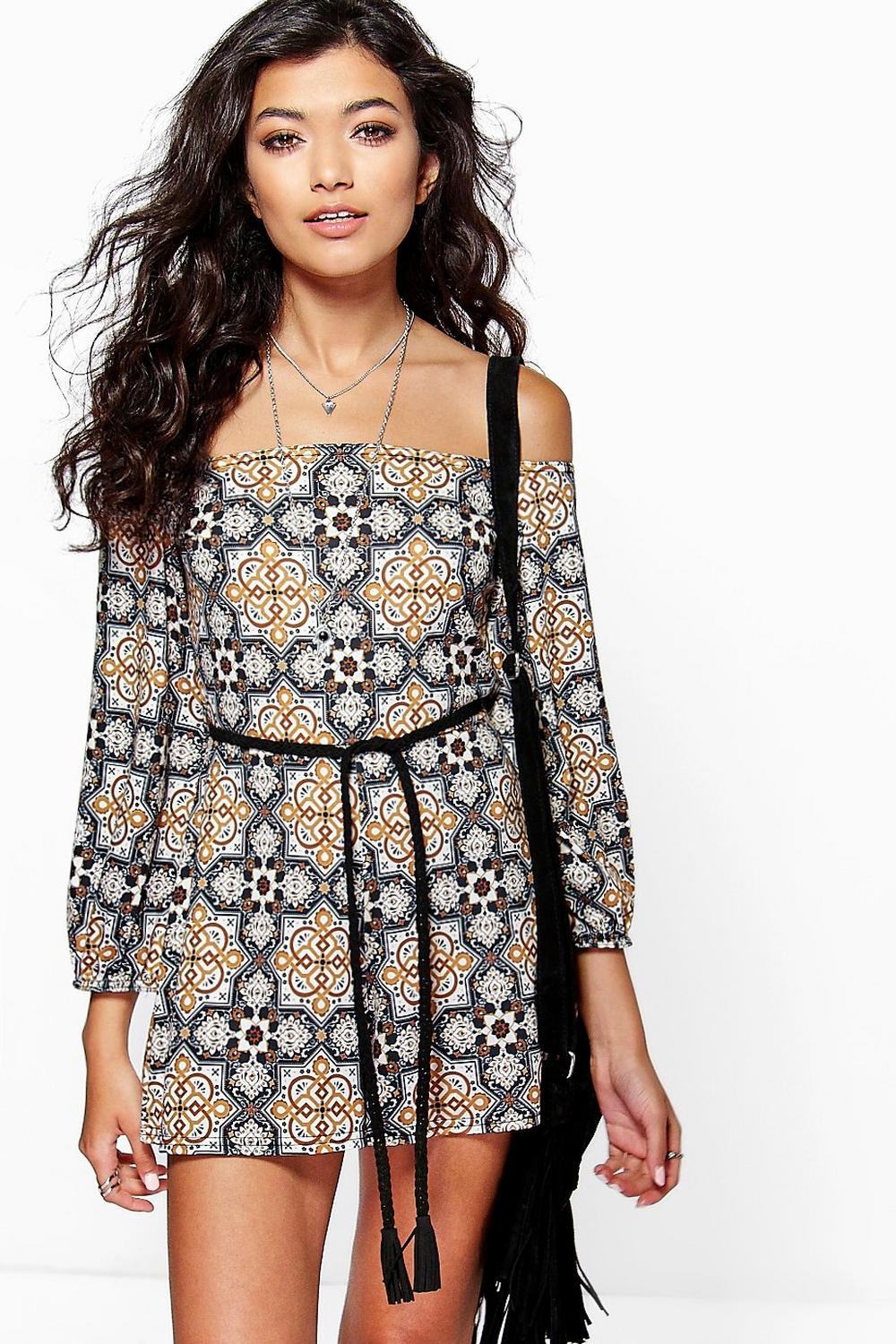 Dana Tile Print Off The Shoulder Playsuit