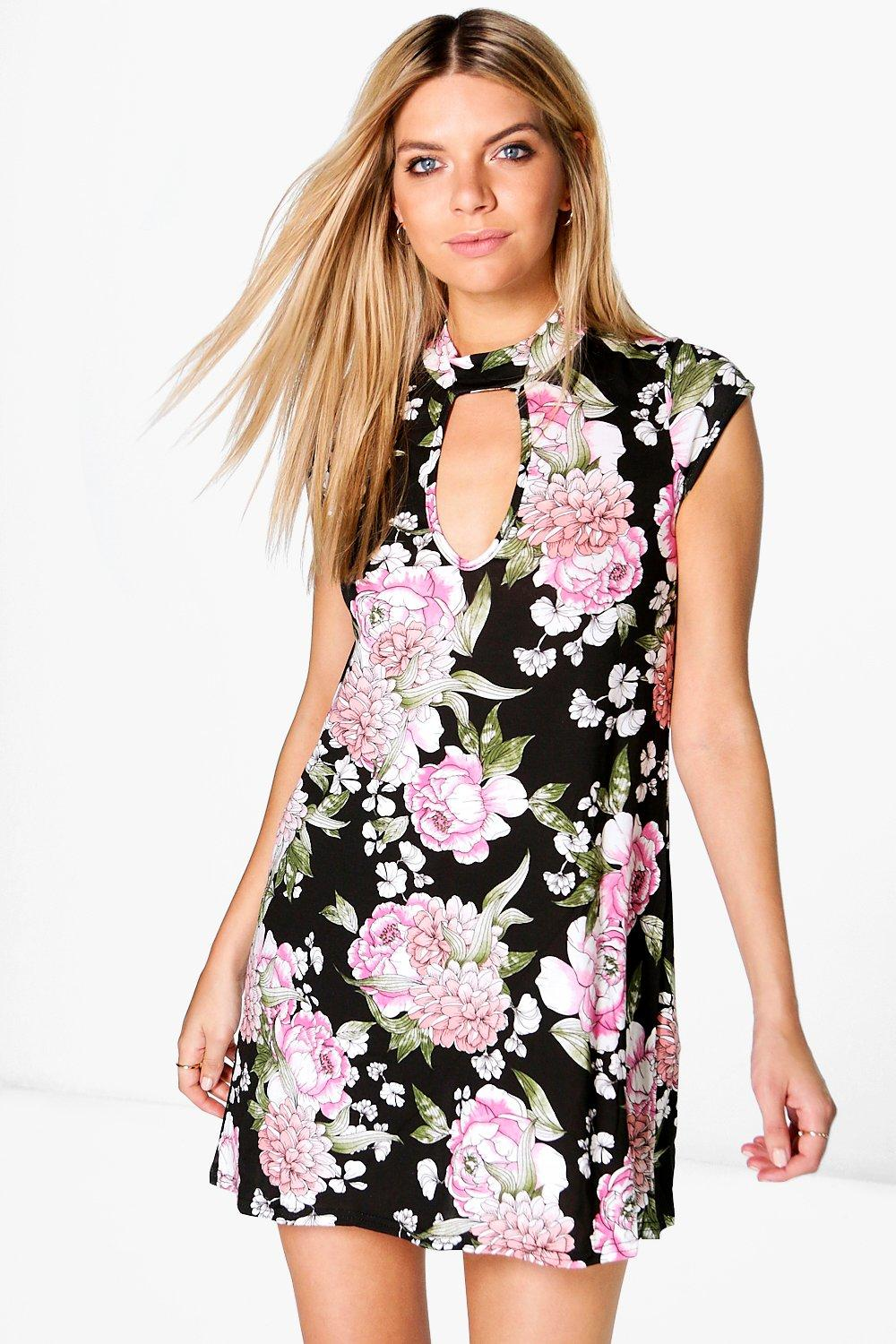 Henrietta Floral High Neck A-Line Dress