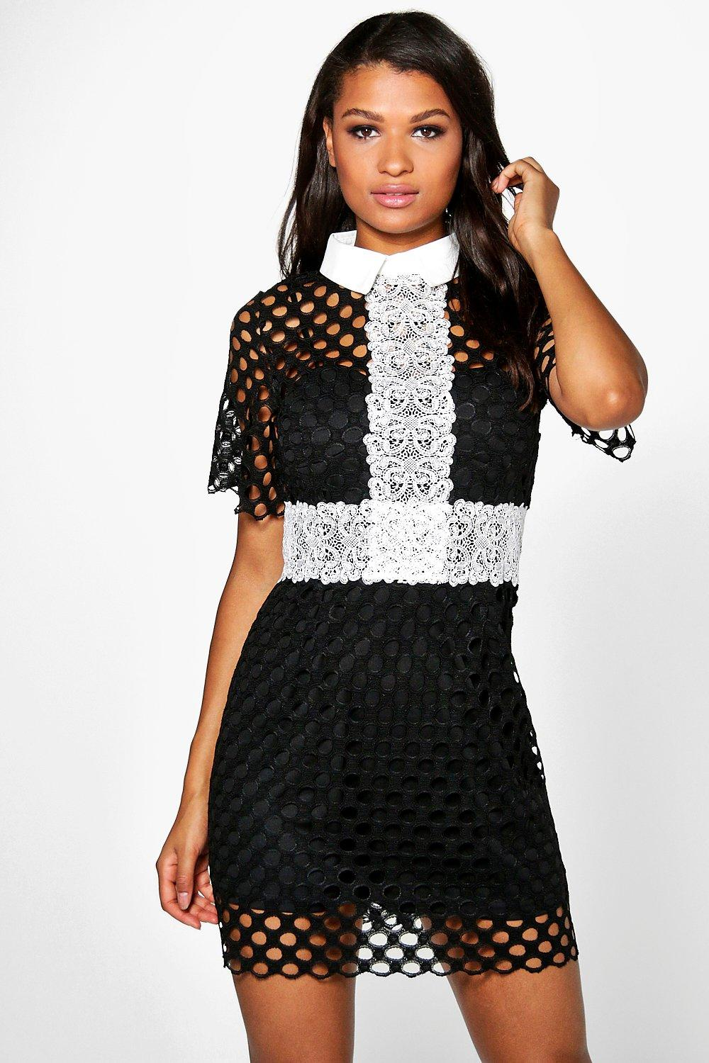 Boutique Bethany Crochet Lace Collar Dress