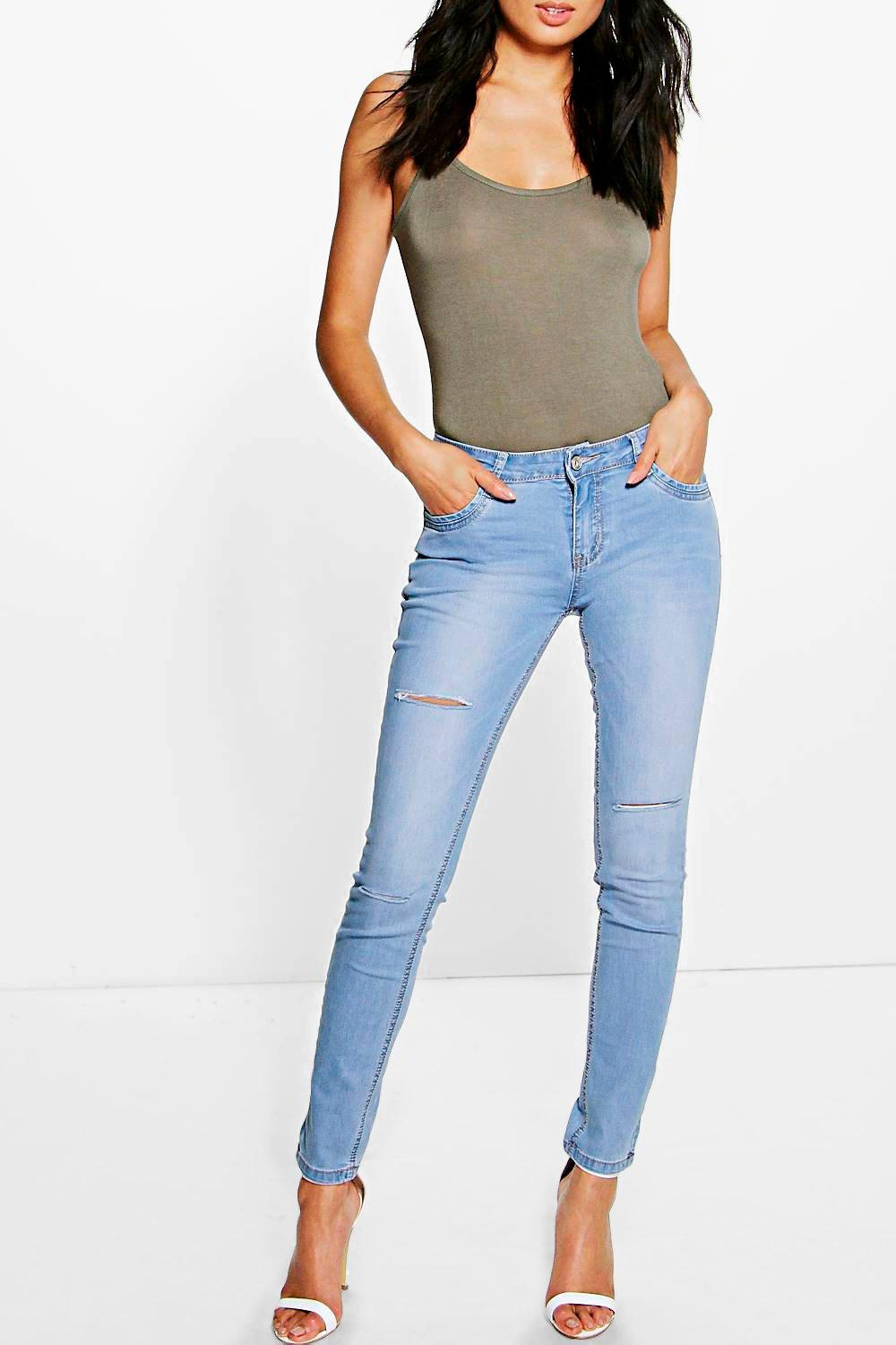 May Mid Rise Light Wash Ripped Skinny Jeans